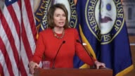House Minority Leader Nancy Pelosi of California responds to a reporter question about a comment of Senator Jeff Merkley that presidential candidate...