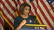 House Minority Leader Nancy Pelosi of California takes questions from reporters asking intern with the American people can do about socalled gag...