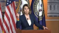 House Minority Leader Nancy Pelosi of California takes questions from reporters at a weekly press briefing Pelosi says she does not know if the set...
