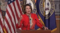 House Minority Leader Nancy Pelosi of California tells reporters that she agrees with President Obama in his final address to Congress the night...