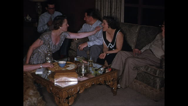 1955 MONTAGE House party, adults drinking, goofing around / Port Credit, Ontario, Canada