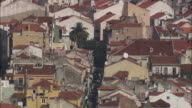 AERIAL WS House rooftops / Lisbon, Portugal