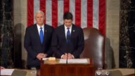 House Speaker Paul Ryan and Vice President Mike Pence name the escort committees of members of Congress to accompany President Donald Trump into the...