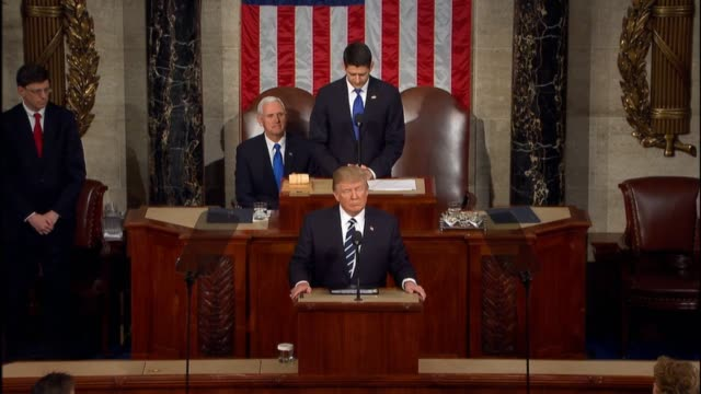 House Speaker Paul Ryan formally introduces President Trump to the Joint Session before President Trump begins his speech
