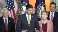 House Speaker Paul Ryan of Wisconsin answers questions from reporters at a weekly press briefing the night after top Democrats met with President...
