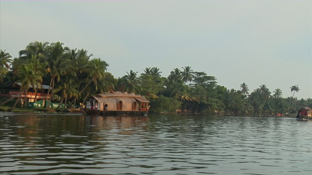 WS, Houseboats (kettuvallam) on Backwaters of Kerala, India