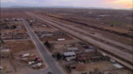 LOW AERIAL Houses and roads along US-Mexican border at El Paso, Texas, USA