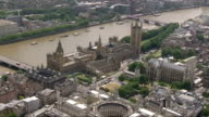 Houses of Parliament Aerials AIR VIEW footage of River Thames / Houses of Parliament / military helicopters along / Houses of Parliament / terrace...