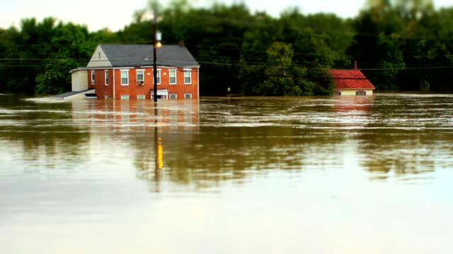 Houses Under Water In Flood with Tilt Shift