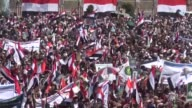 Houthi supporters attend a rally commemorating the third anniversary of the Houthis' capture of the Yemeni capital Sanaa on September 21 2017