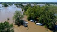 Zweven boven water met huizen onder water Columubus, Texas kleine stad Gulf Coast schade zone van Orkaan Harvey Path of Destruction.