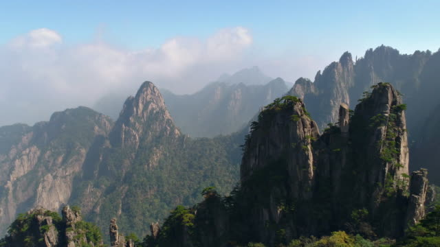 Huangshan Yellow Mountains of China from a drone