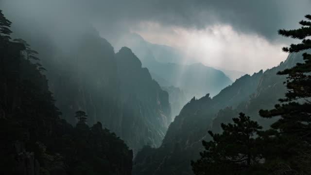 Huangshan-gula bergen i Kina Timelapse