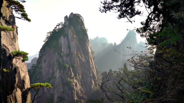 Huangshan gul klippformationer på bergen i Kina