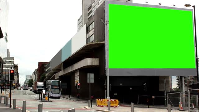 Huge advertising billboard in the city - Green screen