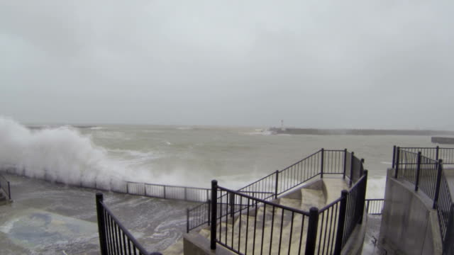 Huge Hurricane Waves Smash Into Waterfront