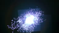 Huge TNT explosion with bright electrical sparks disappearing into black background Available in HD.
