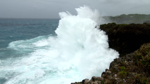 Huge waves crash into the south side of Miyakojima island as typhoon Goni nears