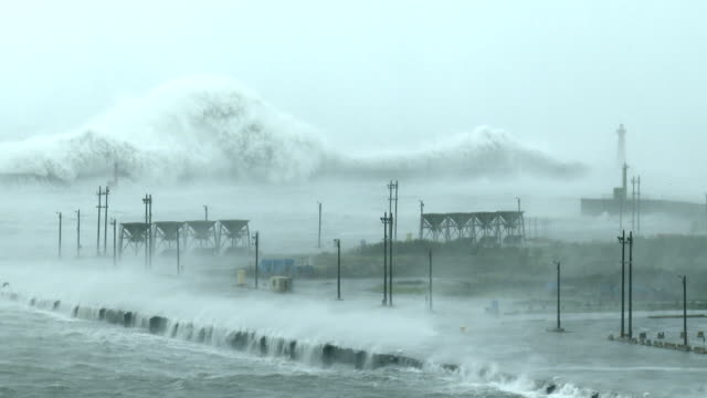 Huge waves from typhoon Megi crash into Hualien port in Taiwan on 27th September 2016
