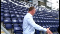 Hughes unveiled as Hibernian manager Falkirk Falkirk Stadium EXT Hughes speaks to the press
