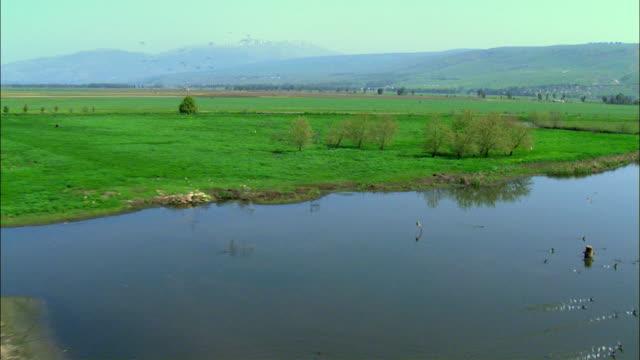 AERIAL Hula lake / Upper Galilee, Israel