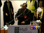 Hull LIVE U'LAY EX HULL EAST John Prescott speech SOT Thanks returning officer police agent / Thinks it has been a fair fight / Delighted with result...