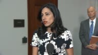 Huma Abedin aide to presidential candidate Hillary Clinton tells reporters after a daylong interview with the House Select Committee on Benghazi that...