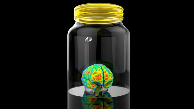 Human brain in a glass jar