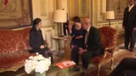 Human rights activist and UN Goodwill Ambassador Nadia Murad who escaped after being kidnapped by IS in 2014 meets with French Foreign Minister Jean...
