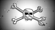 human skull crossbones logo and a crown of laurel