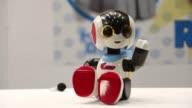 A NAO humanoid robot developed by Aldebaran Robotics SAS sits on display at Japan Robot Week 2014 in Tokyo Japan on Wednesday Oct 15 A Robi Jr...