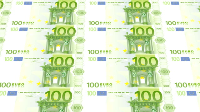 hundred euro bills printing - animation