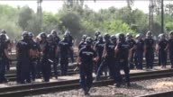 Hundreds of migrants walk toward Austria border after leaving the transit zone of the Budapest main railway station Keleti on September 4 2015 in...