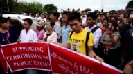 Hundreds of Myanmar nationalists gather in Yangon to protest against the commission report and attacks in Rakhine state released by the UN Secretary...
