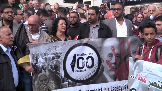 Hundreds of Palestinians took to the streets of Ramallah on Thursday to protest on the 100th anniversary of Britain's Balfour Declaration which...