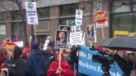 Hundreds of people gathered in Chicago's Loop and blocked the streets for the annual May Day March which calls attention to immigration and human...