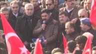 A hundreds of people in Diyarbakır Turkey march against terrorism on December 18 2016 Peoples carrying Turkish flag shouting a slogans for national...