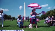 Hundreds of pro Trump activists gather on the National Mall to celebrate and show their support for American values culture and US President Donald...