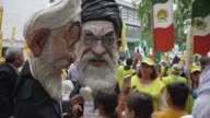 Hundreds of protesters gather in New York to protest against the Iranian regime of Hassan Rouhani while the Iranian president addresses the UN...