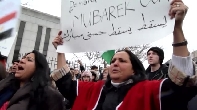 Hundreds of protesters held a rally outside the Egyptian embassy in Washington on Saturday calling for the overthrow of longtime Egyptian leader...