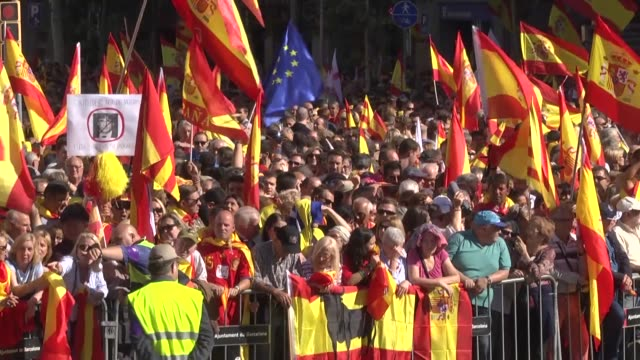 Hundreds of thousands of demonstrators take part in a massive rally in Barcelona on October 29 2017 to protest against the regional Catalan...