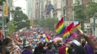 Hundreds of thousands of jubilant gay rights supporters turned out on New York's streets Sunday for the annual Gay Pride March just two days after...