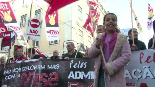 Hundreds of thousands protested in Portugal Saturday against austerity measures ahead of next week's talks with international creditors with unions...
