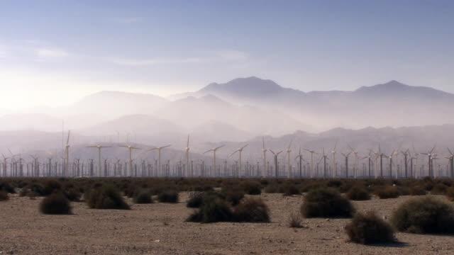 Hundreds of windmills turn in the eerily misted California desert.