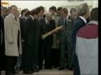 Hungarian leader Janos Kadar visits London ENGLAND London Nine Elms INT Janos Kadar with officials entering Sainsbury's store Kadar looking at stick...