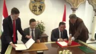 Hungarian Minister of Foreign Affairs and Trade Peter Szijjarto meets with Tunisian Foreign Minister Khemaies Jhinaoui in Tunis Tunisia on April 13...