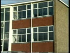 Hungerford inquest INJ4225 8987 GV Exterior school with police van policemen outside ZOOM IN windows with broken panes