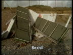 Hurricane force winds ITN Bexhill MS Overturned beach huts MS Another MS Beached dead whale on hoist PULL OUT
