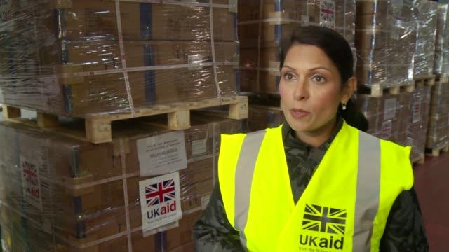 Hurricane Irma / UK Aid / Priti Patel Interview and GVs ENGLAND Gloucestershire Kemble DFID Emergency Relief Hub INT Priti Patel MP interview SOT /...