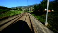 Hurtling train in Switzerland